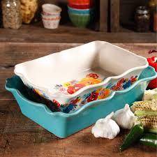 pioneer woman cookware. the pioneer woman flea market 2-piece decorated rectangular ruffle top ceramic bakeware set cookware