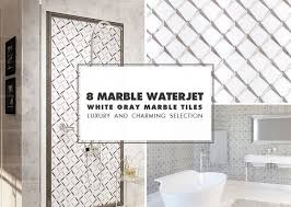 waterjet white gray mosaic tile