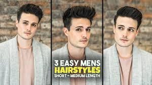 3 Easy Mens Hairstyles Short Medium Length Hair Tutorial