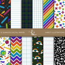 Back To School Digital Paper Notebook Paper Graph Paper