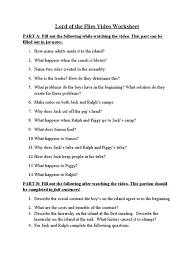 lord of the flies worksheet delibertad 1491353074