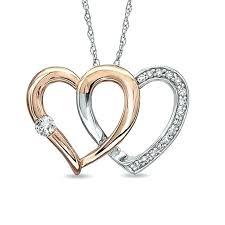 double heart pendant diamond in o tone gold tiffany pink