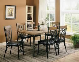 Black Wood Dining Chairs Black Metal Brown Wood Modern 5pc Dining Set
