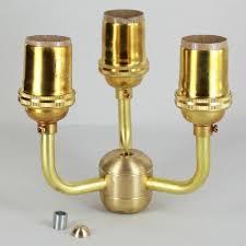 3 light unfinished brass cer kit with keyless e 26 base lamp sockets