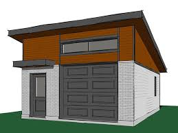 Modern 1-car garage with sloped roof