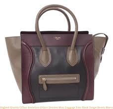 highest quality céline imitation celine tricolor mini luggage tote black taupe brown maroon leather handbag celine replica