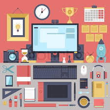 creative furniture icons set flat design. Flat Modern Design Vector Illustration Concept Of Creative Office Workspace, Workplace. Icon Collection In Stylish Colors Business Work Flow Items And Furniture Icons Set