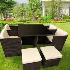 9pc pe rattan cube dining garden set brown