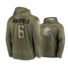 6 Salute 2018 Service Olive Baker Hoodie - Mayfield Browns To Men's Cleveland