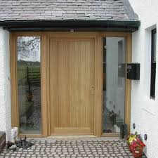 oak door set oiled with twin sidelights external oak door with glazed side light