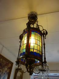 lantern stained glass and bronze xixth century