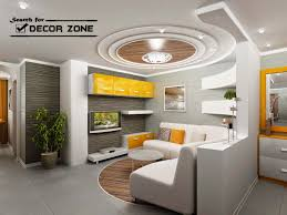 creative POP false ceiling designs with wooden tray