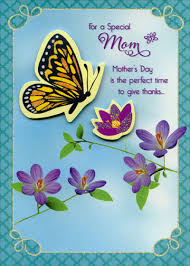 Mother Day Card Die Cut Butterfly And Flower Handmade Mom Designer Boutique