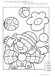 Rekenen Cijferkleurplaat Tm 6 Clown De Dobbelsteen Bepaalt Welke