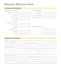 Babysitter Information Nanny Log Sheet Templates Information Template For Word Free
