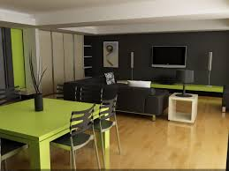 Stylish Black Combined Green Themes Living Room Idea with Wooden Floor and  Black Sofa Set Near