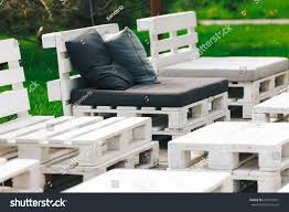 environmentally friendly furniture. Shot Of Furniture Made Pallets. Innovative And Environmentally Friendly Way To Decorate The Yard I
