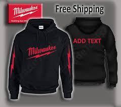 Milwaukee Tools Hoodie Red Print Gildan Custom Made Add