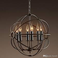 rh lighting restoration hardware vintage pendant lamp foucault iron orb chandelier rustic iron rh loft light globe style 42cm 52cm 62cm 80cm multi light