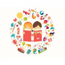 children reading a book background free vector