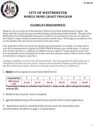 Mobile Home Sizes Chart City Of Westminster Mobile Home Grant Program Pdf
