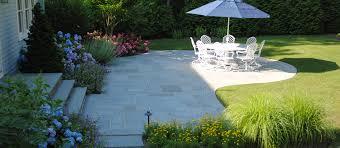 backyard bluestone patio landscape design east quogue new york