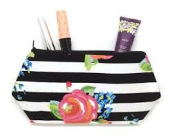 striped cosmetic bag watercolor roses bridesmaid makeup pretty pouches zip pouch fl toiletry bag women cute makeup pouch bag set