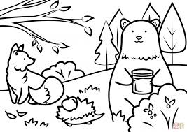 Autumn Animals Coloring Page Pages Free Printable Easter Easy Cute