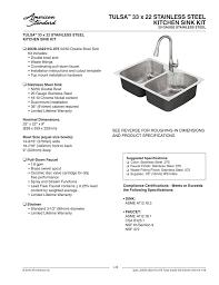 Tulsa 33 X 22 Stainless Steel Kitchen Sink Kit Manualzzcom