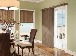 terrific sliding glass patio doors with woven bamboo blinds for beach house