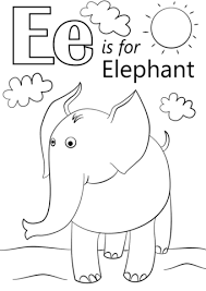 elephant coloring page. Contemporary Elephant Letter E Is For Elephant Coloring Page Throughout Coloring Page L