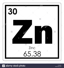 Zinc Chemical Element Periodic Table Science Symbol Stock