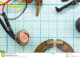 Parts Old Retro Film Slr Camera On Graph Paper Stock Photo Image