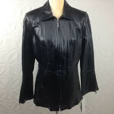 details about nwt women s terry lewis black leather lined tailored zip up jacket size medium