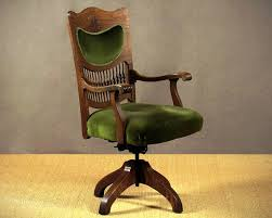 image of antique wood swivel desk chair