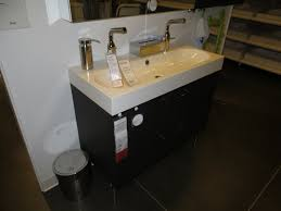 bathroom-espresso-ikea-double-vanity-with-glossy-sink-and-silver