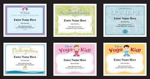 certificates of completion for kids yoga certificates templates yoga instructor awards yogi