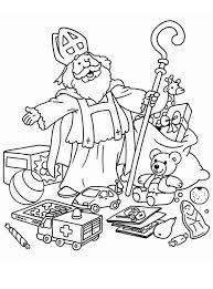 Kleurplaat Sinterklaas Geeft Cadeautjes Weg Aan De Kinderen