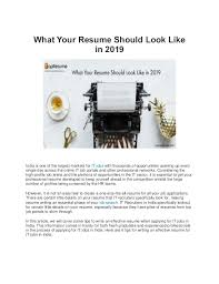How Should A Resume Look Like What Your Resume Should Look Like In 2019