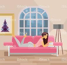 Living Room Artwork Vector Living Room With Girl Flat Illustration Stock Vector Art
