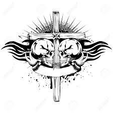 2 つの人間の頭蓋骨のクロス ベクトル イラストや部族の翼