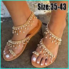 2019 <b>Bohemia</b> Sandals Woman <b>Beading</b> Flat Shoe Women <b>Summer</b> ...