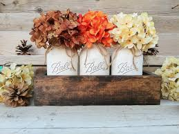 Fall Table Decorations With Mason Jars Fall Table CenterpieceFall DecorSeasonalThanksgiving Table 45