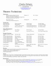 Tech Theatre Resume Template Best Of Theatre Technician Cover Letter