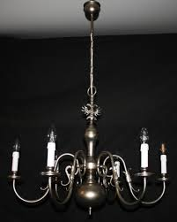 vintage flemish chandelier 6 arm silver coloured ceiling light with a fish feature on the arms