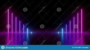 Neon Light Spectrum 3d Render Abstract Minimal Background Glowing Vertical
