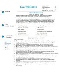 production coordinator resumes production manager resume