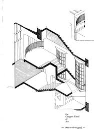 George cairns architectural drawing of the east wing staircase of the mackintosh building