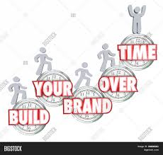 build your brand over time 3d words on clocks people ing build your brand over time 3d words on clocks people ing up to illustrate branding