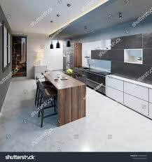 Modern Kitchen Design Long Center Island Arkistokuvitus